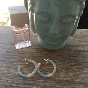 Light blue and pink ceramic hoops